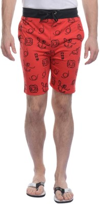 FREE RUNNER Printed Men's Red Beach Shorts