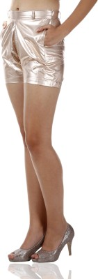 Miss Chase Solid Women's Gold Basic Shorts at flipkart