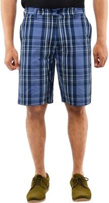 Blue Wave Checkered Men's Blue Basic Shorts