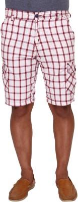 Ramarrow Checkered Men's White, Red Cargo Shorts