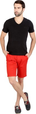 Caricature Solid Men's Red Basic Shorts