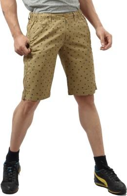 Private Image Printed Men's Gold Basic Shorts, Chino Shorts