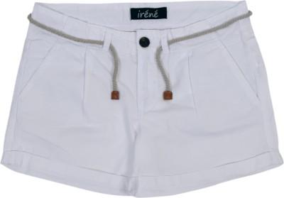 Irene Solid Girl's White Hotpants