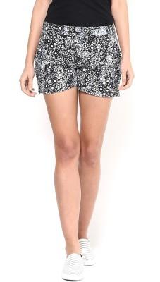 Martini Floral Print Women's Blue Basic Shorts