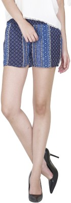 9onnine Printed Women's Blue Cargo Shorts