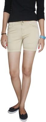 Fungus Solid Women's Beige Denim Shorts
