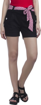 Peptrends Solid Women,s Black Chino Shorts
