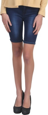 Ico Blue Star Solid Womens Blue Denim Shorts