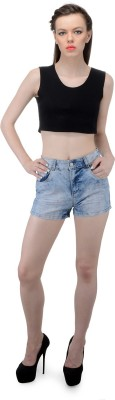 FIBRE WORLD Solid Women's Blue Denim Shorts