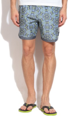 Quiksilver Printed Men,s Blue, Green Basic Shorts