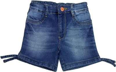 NASCENT Solid Baby Girl,s Dark Blue Denim Shorts