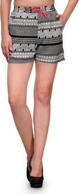 Zachi Printed Women's Black, Grey Basic Shorts
