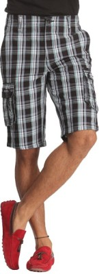 Bornfree Checkered Mens Multicolor Bermuda Shorts