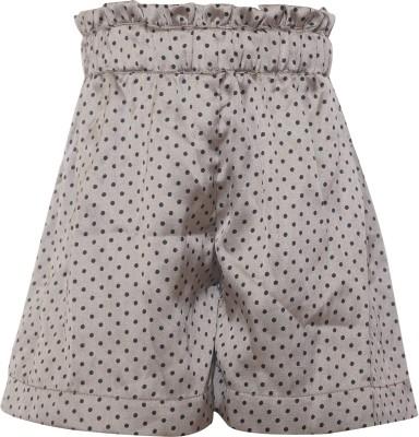 Parv Collections Polka Print Girl's Grey Basic Shorts