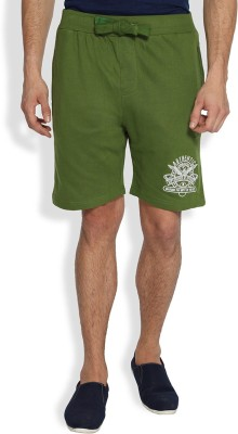 Difference of Opinion Solid Men's Green Basic Shorts