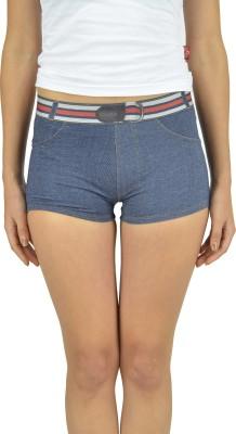 Beach Angel Self Design Women's Blue Denim Shorts