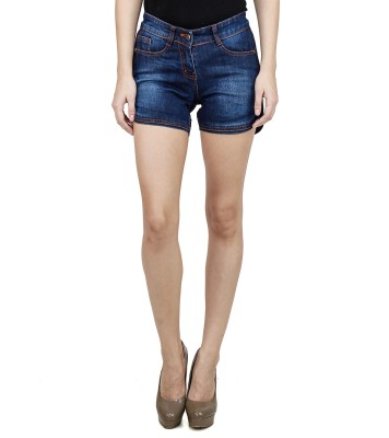 Uber Urban Solid Women's Dark Blue Basic Shorts at flipkart