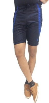 London Eye Solid Men's Dark Blue, Blue Sports Shorts