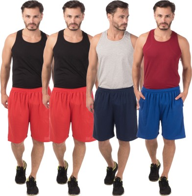 Meebaw Self Design Men,s Red, Red, Dark Blue, Blue Sports Shorts