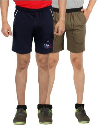 Fizzique Solid Men's Black, Green Basic Shorts