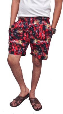 Style In Printed Men's Red Beach Shorts