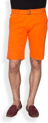 Campus Sutra Solid Men's Orange Chino Shorts