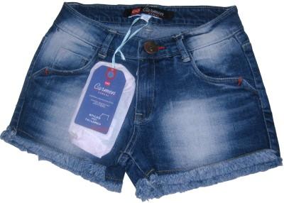 Carmen Casuals Solid Girl's Denim Blue Denim Shorts