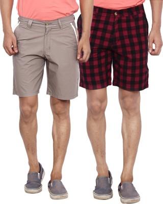 Calloway Solid Men's Grey, Black, Red Basic Shorts