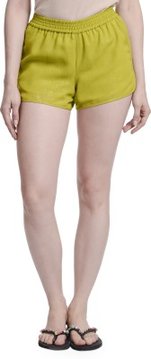 Today Fashion Solid Women,s Yellow Basic Shorts