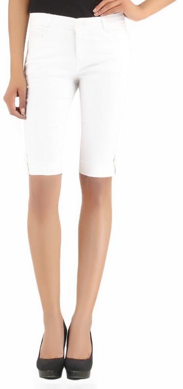 X'Pose Solid Women's White Basic Shorts