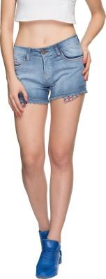 Tarama Solid Women's Blue Denim Shorts