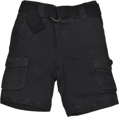 Bio Kid Solid Baby Boy's Grey Cargo Shorts