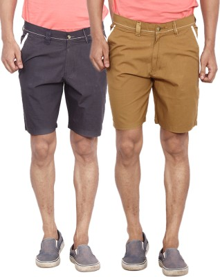 Calloway Solid Men's Black, Beige Basic Shorts