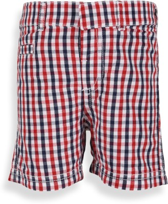 Mothercare Checkered Baby Boy's White, Blue, Red Basic Shorts