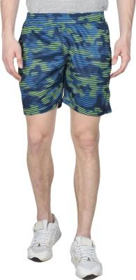 Creez Printed Men's Blue, Yellow Sports Shorts