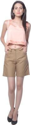 Holidae Solid Women's Beige Basic Shorts
