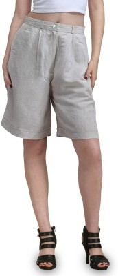 Eves Pret A Porter Solid Women's Linen Grey Basic Shorts at flipkart