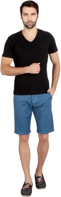 Caricature Solid Men's Blue Basic Shorts