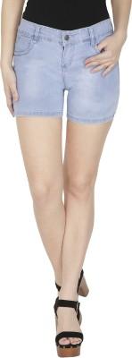 NJs Solid Women's Light Blue Denim Shorts, Basic Shorts