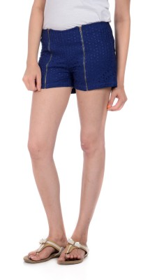 House of Tantrums Printed Women's Blue Hotpants, Basic Shorts, Beach Shorts