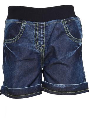 Tales & Stories Solid Baby Girl,s Denim Dark Blue Denim Shorts
