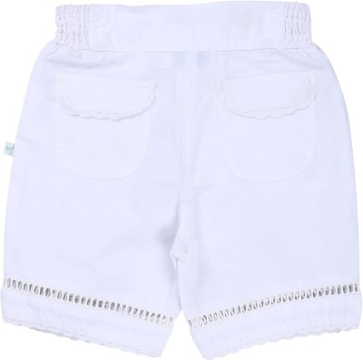 ShopperTree Solid Baby Girl's White Basic Shorts