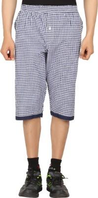 Sixer Knitting Checkered Men,s Dark Blue Basic Shorts