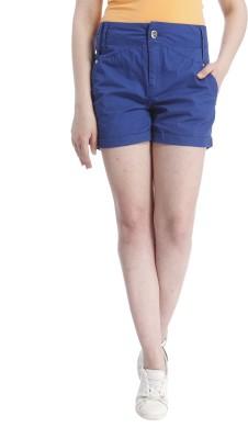 Only Solid Women's Blue Basic Shorts at flipkart
