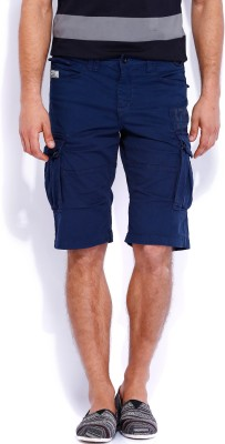 Rookies Solid Men's Dark Blue Cargo Shorts