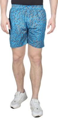 Creez Printed Men's Light Blue, Grey Sports Shorts