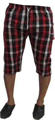 Revinfashions Checkered Men's Red Basic Shorts