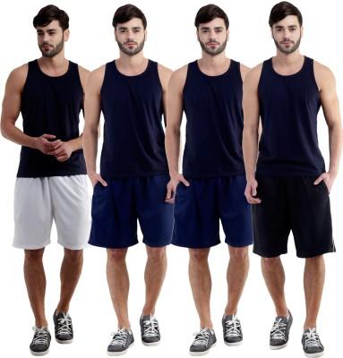 Dee Mannequin Self Design Men's White, Dark Blue, Dark Blue, Black Sports Shorts