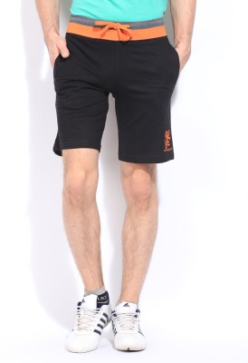 Chromozome Solid Men's Black Sports Shorts