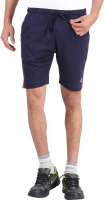 4thNeed Solid Men's Blue Sports Shorts
